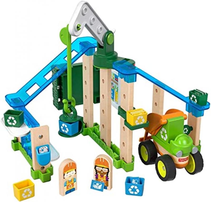 ihocon: Fisher-Price Wonder Makers Design System Lift & Sort Recycling Center - 35+ Piece 木製組合玩具