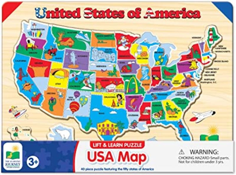 ihocon: The Learning Journey Lift & Learn Puzzle - USA Map 木製美國地圖拼圖