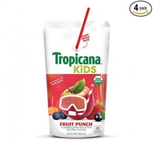 ihocon: Tropicana Kids Organic Juice Drink Pouch, Fruit Punch, 5.5 oz, 32Count 兒童有機果汁