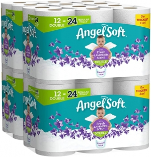 ihocon: Angel Soft Toilet Paper with Fresh Lavender Scented Tube, 48 Double Rolls = 96 Regular Rolls