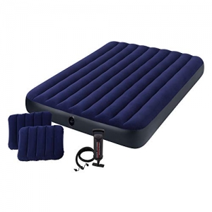 ihocon: Intex Classic Downy Airbed Set with 2 Pillows and Double Quick Hand Pump, Queen   空氣床, 2個枕頭及手動打氣棒