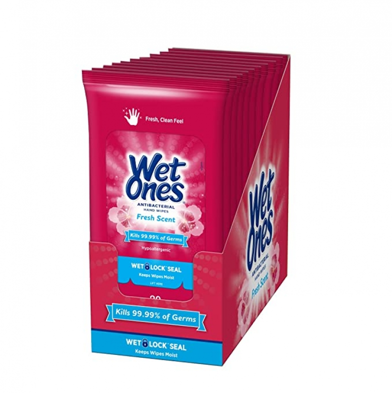 ihocon: Wet Ones Antibacterial Hand Wipes, Fresh Scent, 20 Count (Pack of 10) 消毒擦手濕巾