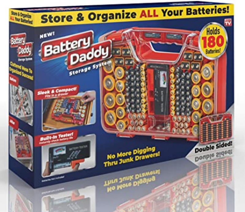 ihocon: Ontel Battery Daddy 80 Battery Organizer and Storage Case with Tester, 80 Piece, 180 Piece Assortment, 1 Count  電池收納盒, 含電池測器