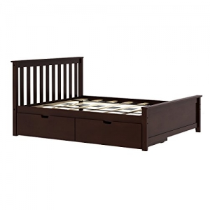 ihocon: Max & Lily Solid Wood Full-Size Bed with Under Bed Storage Drawers, Espresso 含儲物抽屜 實木床