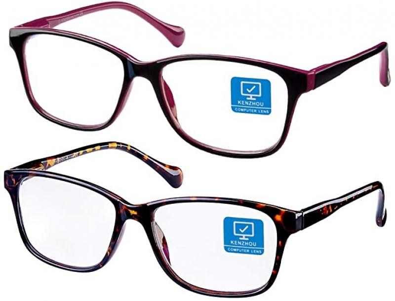 ihocon: K KENZHOU Blue Light Blocking Anti-Eyestrain Unisex Computer Glasses with Spring Hinges (Twilight and Red) 2 Pack 抗藍光電腦眼鏡