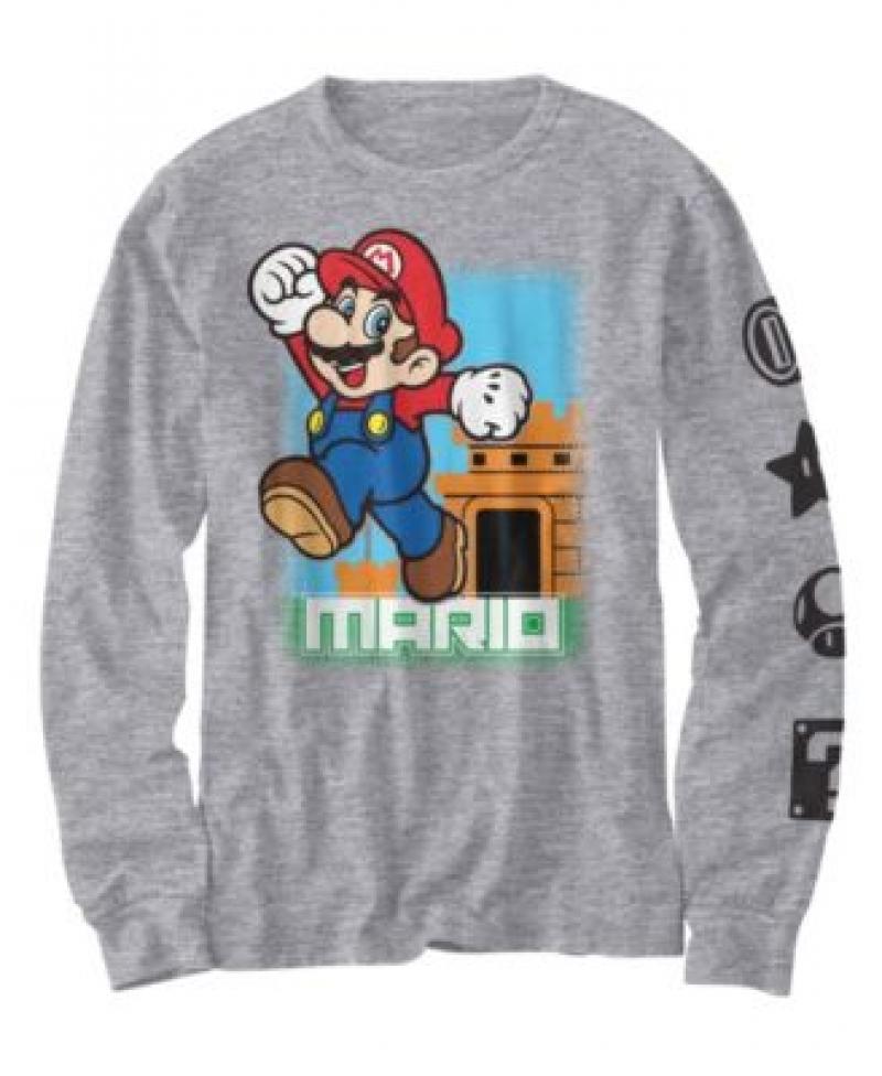 ihocon: Hybrid Big Boys Mario Leaps Out T-shirt 兒童長袖衫