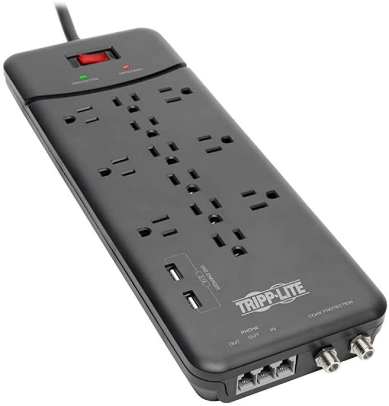 ihocon: Tripp Lite TLP128TTUSBB 12 Outlet Surge Protector Power Strip, 2 USB Charging Ports, 8ft Cord 電湧保護延長線(電源板), 12插座+2個USB插槽, 8呎電線