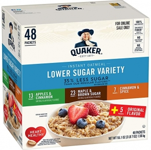 ihocon: Quaker Instant Oatmeal, Lower Sugar, 4 Flavor Variety Pack, Individual Packets, 48 Count 桂格低糖速溶燕麥片