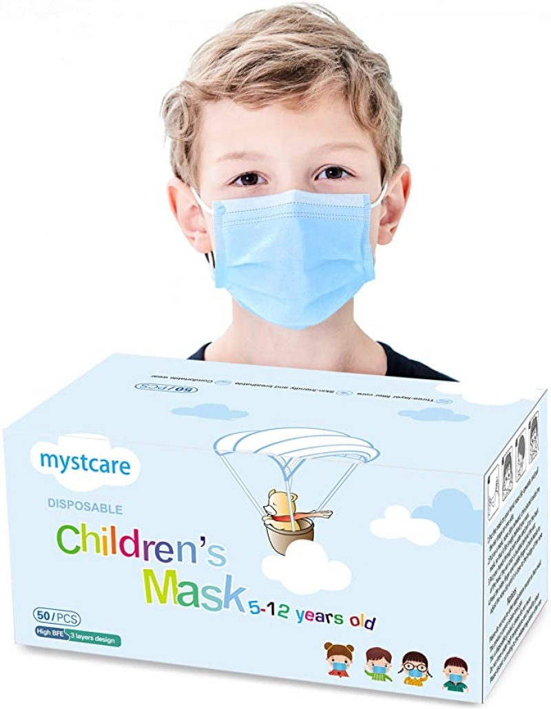 ihocon: mystcare Kids Disposable Protection Face Mask 5-12 Years Old 50 Pack兒童一次性口罩