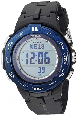 ihocon: Casio Men's Pro Trek Stainless Steel Quartz Watch with Resin Strap, Black, 23 卡西歐男錶