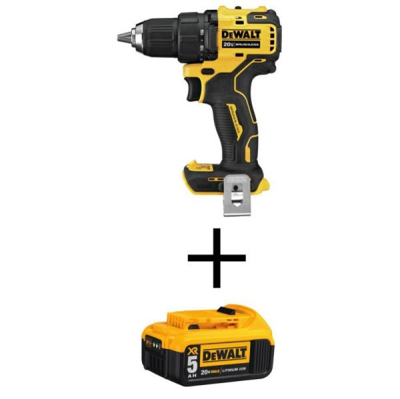 ihocon: DEWALT ATOMIC 20-Volt MAX Cordless Brushless Compact 1/2 in. Drill/Driver with (1) 20-Volt 5.0Ah Battery 無線電鑽/電動螺絲起子+電池