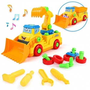 ihocon: BeebeeRun 2-in-1 Take Apart Construction Trucks Toys with Sounds and Lights 聲/光組裝玩具推土機