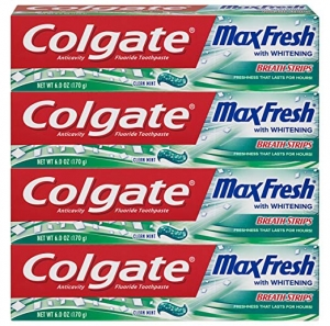 ihocon: Colgate Max Fresh Whitening Toothpaste with Breath Strips, Clean Mint - 6 ounce (4 Pack) 高露潔美白牙膏