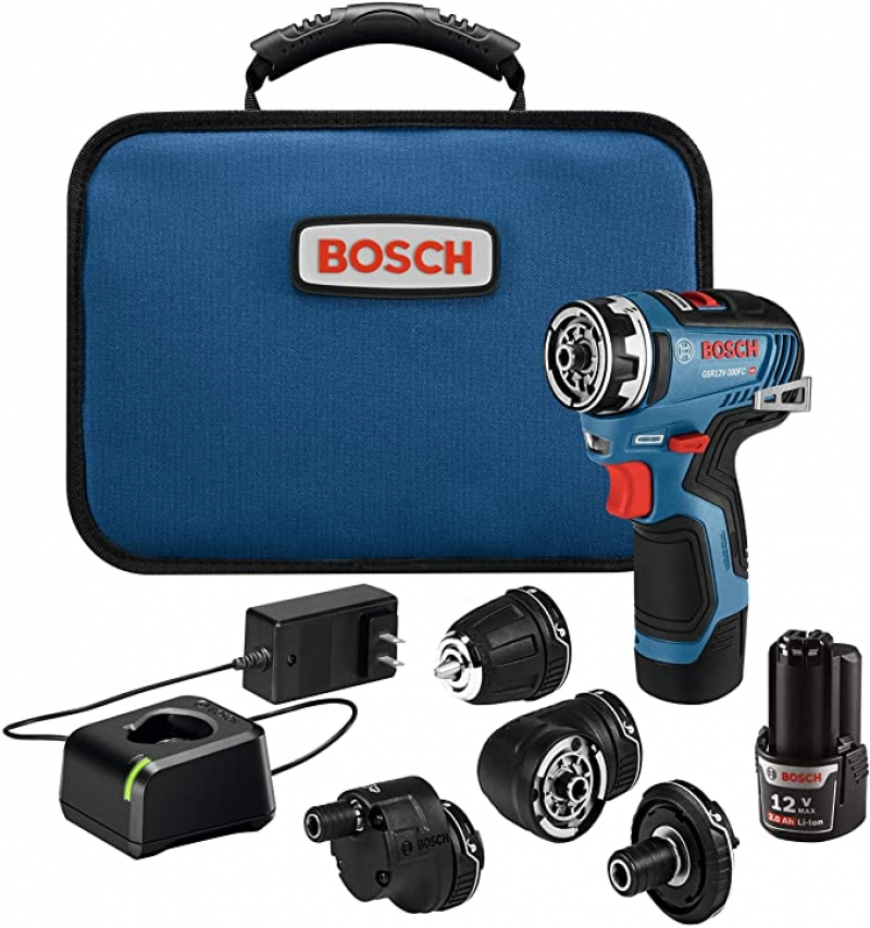 ihocon: Bosch GSR12V-300FCB22 12V Max EC Brushless Flexiclick 5-In-1 Drill/Driver System with (2) 2.0 Ah Batteries 5合1 電動工具
