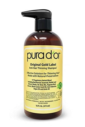 ihocon: PURA D'OR Original Gold Label Anti-Thinning Shampoo with Argan Oil, Biotin & Natural Ingredients, Sulfate Free, All Hair Types, Men and Women, 16 Fl Oz 抗稀疏摩洛哥堅果油洗髮乳