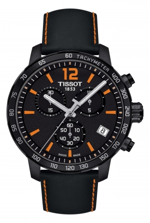 ihocon: TISSOT Quickster Chronograph Leather Strap Watch, 42mm 天梭男錶