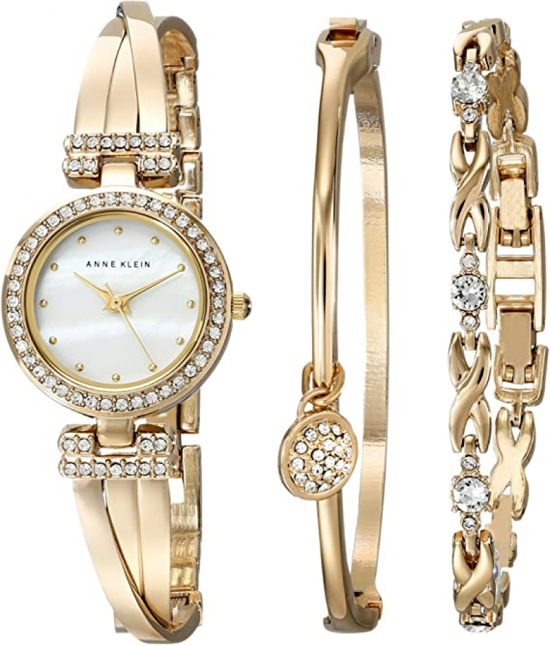 ihocon: Anne Klein Women's AK/1868GBST Swarovski Crystal-Accented Gold-Tone Bangle Watch and Bracelet Set 施華洛世奇水晶女錶和手鍊套裝