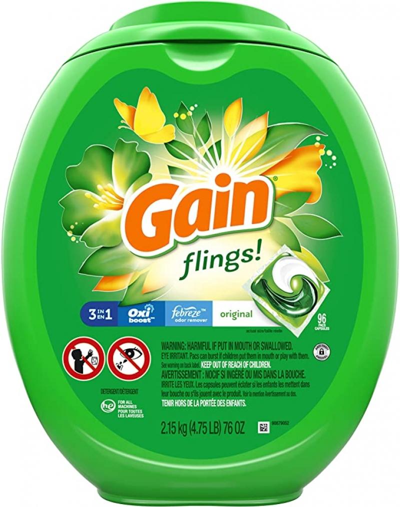 ihocon: Gain flings! Laundry Detergent Soap Pacs, High Efficiency (HE), Original Scent, 96 Count 洗衣膠囊