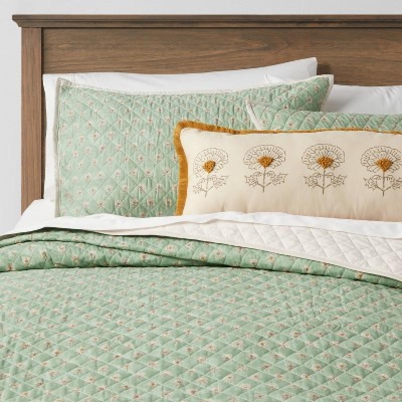ihocon: Everett Floral Quilt Set Green, 4pc 純棉被子枕頭套