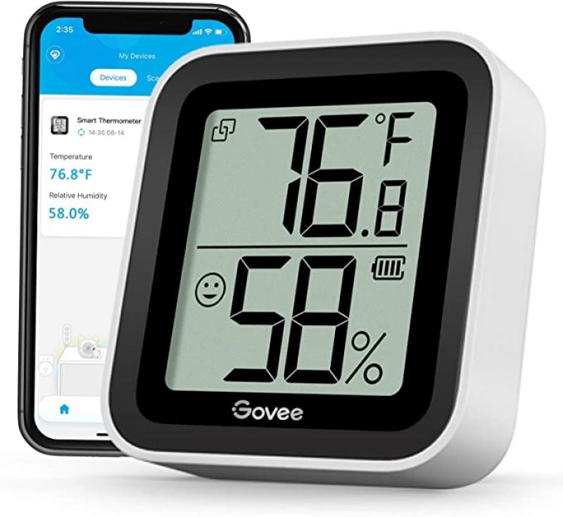 ihocon: Govee Bluetooth Hygrometer Temperature Humidity Sensor with App Alert & Data Storage藍芽温度/濕度計