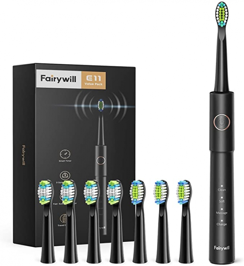 ihocon: Fairywill Sonic Toothbrush for Adults with 8 Dupont Bursh Heads 充電式電動牙刷, 含8個替換刷頭