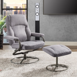 ihocon: Mainstays Plush Pillowed Recliner Swivel Chair and Ottoman Set, in Gray   旋轉躺椅及墊腳凳