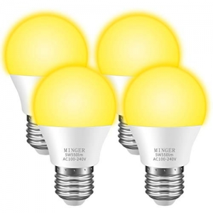 ihocon: Minger Bug Light Bulb Yellow LED Bulbs for Patio Hallway Garage [4 Pack] 室外照明燈泡