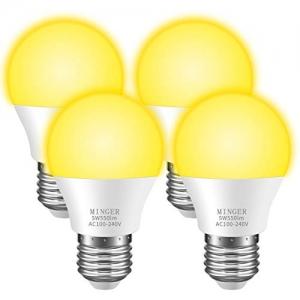 ihocon: Minger Bug Light Bulb Yellow LED Bulbs for Patio Hallway Garage [4 Pack] 室外照明燈泡