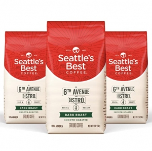 ihocon: 西雅圖首選Seattle's Best Coffee 6th Avenue Bistro Dark Roast Ground Coffee 3 Pack, 12 Ounce (Pack of 3)研磨咖啡粉