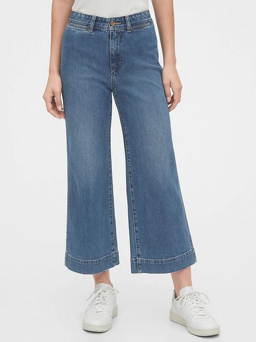 ihocon: Gap High Rise Wide-Leg Crop Pants 女士高腰九分牛仔褲