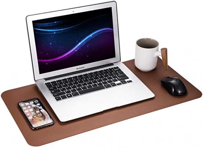 ihocon: Gogloo Multifunctional Office Desk Pad, (Brown, 23.6 x 12) 雙面仿皮革滑鼠墊