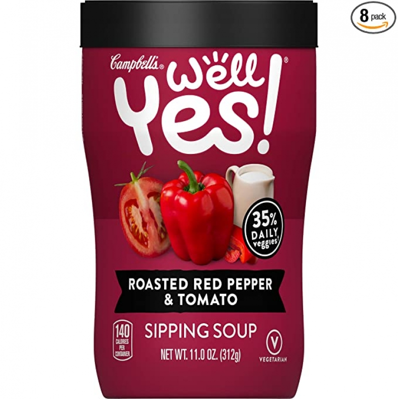 ihocon: Campbell's Well Yes! Sipping Soup, Vegetable Soup On The Go, Roasted Red Pepper & Tomato, 11 Oz Cup (Pack of 8) 便廿蔬菜湯
