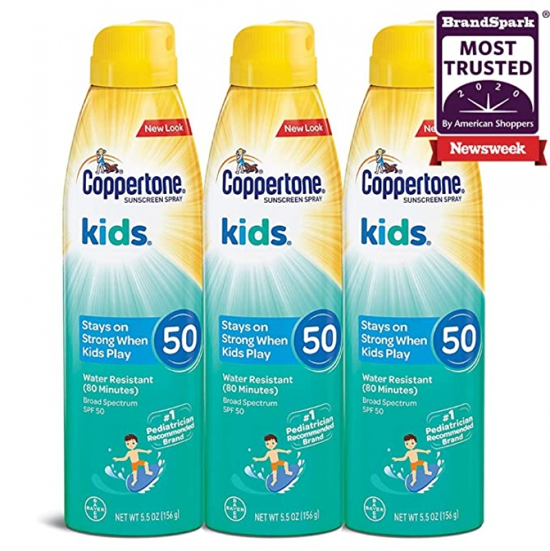 ihocon: Coppertone KIDS Sunscreen Continuous Spray SPF 50 (5.5 Ounce, Pack of 3)  兒童防曬噴霧