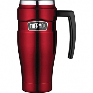 ihocon: Thermos Stainless King 16 Ounce Travel Mug with Handle, Cranberry 不銹鋼保温杯