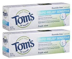 ihocon: Tom's of Maine Natural Rapid Relief Sensitive Toothpaste, Sensitive Toothpaste, Fresh Mint, 4 Ounce, 2-Pack 速緩解牙齒敏感牙膏