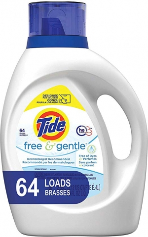 ihocon: Tide Free and Gentle HE Laundry Detergent Liquid, 100 oz, 64 Loads, Unscented and Hypoallergenic for Sensitive Skin 不含色素和香料洗衣精