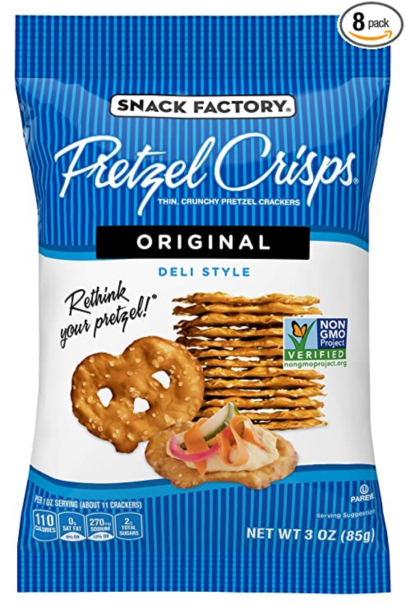 ihocon: Snack Factory Pretzel Crisps Original Flavor, 3 Oz On-the-Go Bag (Pack of 8)