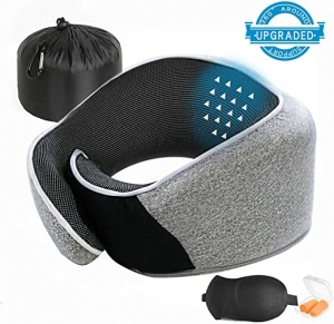ihocon: layaker Travel Pillow 100% Pure Memory Foam Neck Pillow 記憶綿旅行枕+眼罩+耳塞