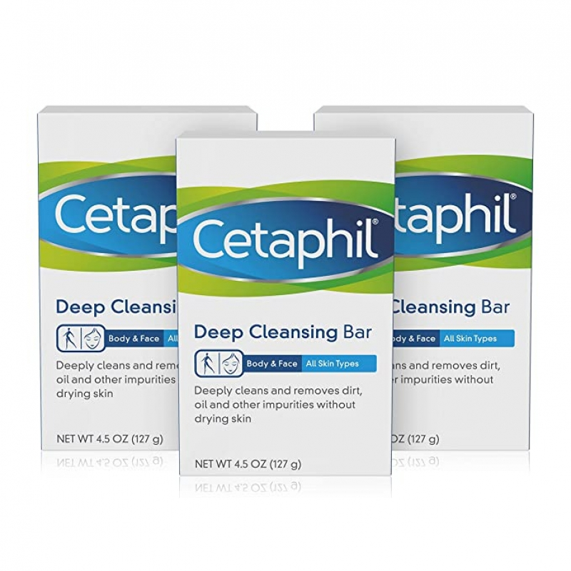 ihocon: Cetaphil Deep Cleansing Face & Body Bar for All Skin Types, 3 Count 深層清潔香皂
