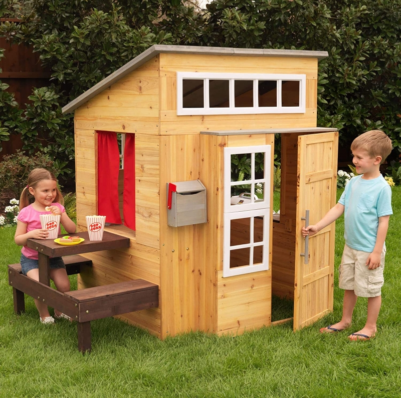 ihocon: KidKraft Modern Outdoor Wooden Playhouse with Picnic Table, Mailbox and Outdoor Grill 木製兒童遊戲房, 含野餐桌