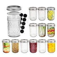 ihocon: FRUITEAM 8 oz Mason Jars with Lids and Bands-Set of 12