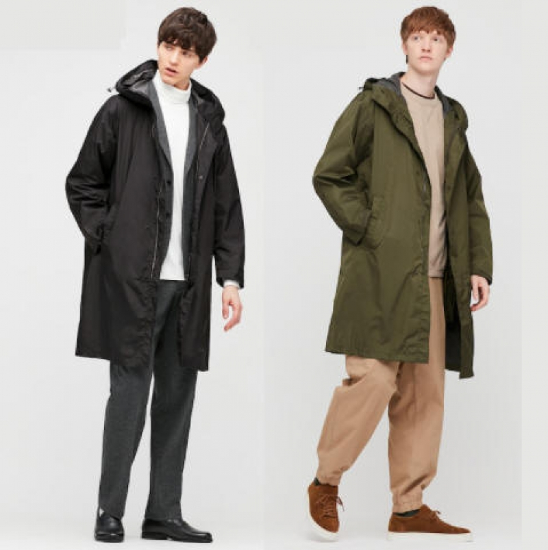 ihocon: UNIQLO MEN LIGHTWEIGHT BLOCKTECH COAT 男士連帽風衣長外套-多色可選