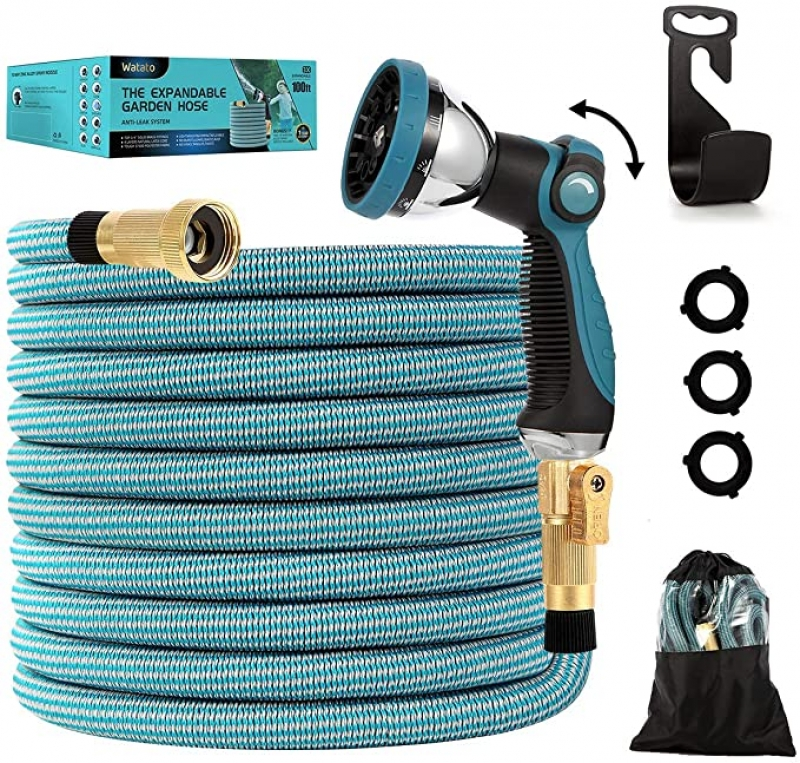 ihocon: Watato Expandable Garden Hose 100ft-Water Hose with Durable 10 Way Zinc Alloy Spray Nozzle伸縮澆花水管, 含噴水頭
