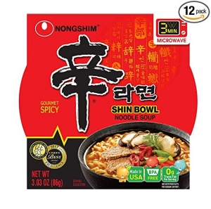 ihocon: Nongshim Shin Bowl Noodle Soup, Gourmet Spicy, 3.03 Ounce (Pack of 12) 農心辛拉麵碗裝