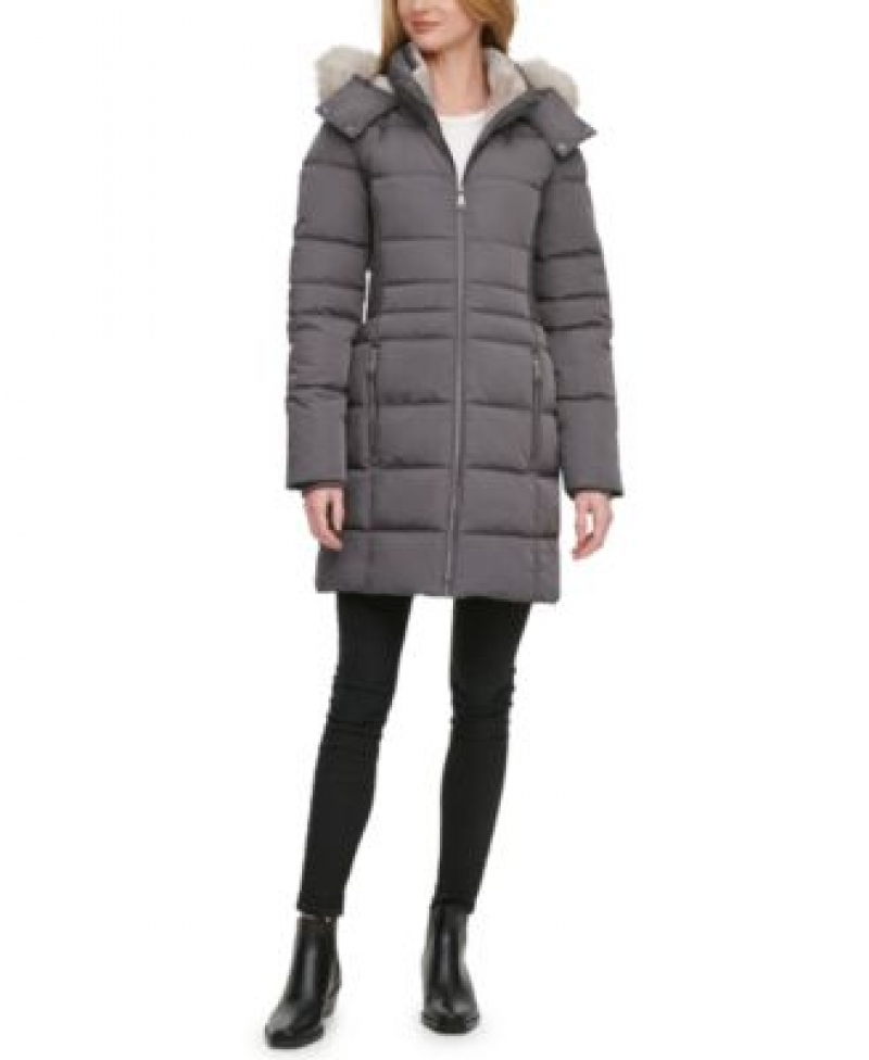ihocon: DKNY Faux-Fur-Trim Hooded Puffer Coat女士連帽大衣-多色可選