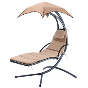 ihocon: Hanging Rocking Sunshade Canopy Chair, Beige 懸掛式遮陽搖椅 - 多色可選