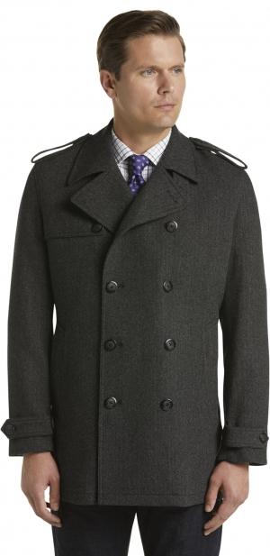ihocon: Reserve Traditional Fit Double Breasted Herringbone Wool Blend Coat 男士羊毛混紡大衣