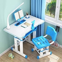 ihocon: FORYULIK Modern Kids School Desk Chair Set With Led Light,Bookstand 兒童可調高度書桌椅, 含枱燈及置書架 - 2色可選