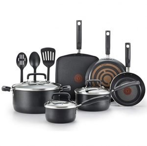 ihocon: T-fal C530SC Signature Nonstick Dishwasher Safe Cookware Set, Nonstick Pots and Pans Set, Thermo-Spot Heat Indicator, 12 Piece, Black - 熱點熱顯示不粘鍋組