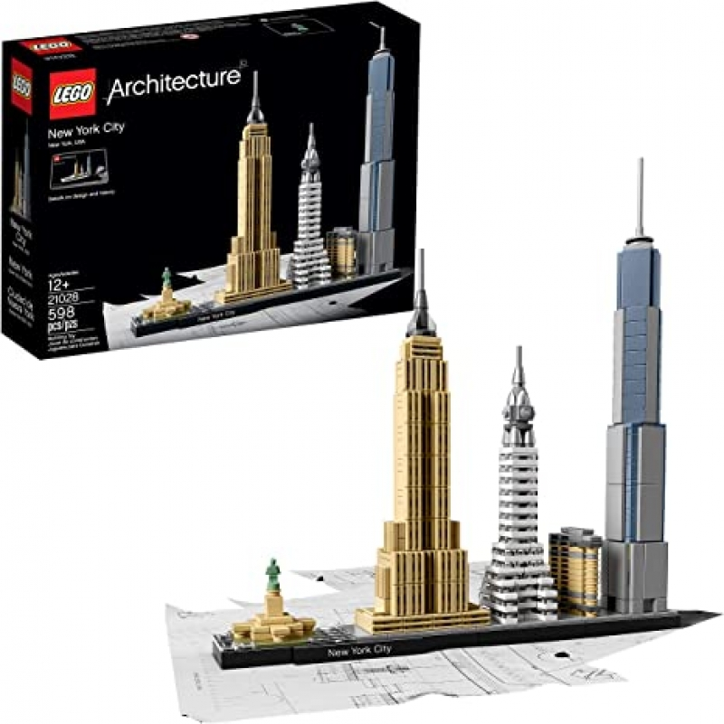 ihocon: LEGO Architecture New York City 21028, Build It Yourself New York Skyline Model Kit for Adults and Kids (598 Pieces) 樂高紐約天際線